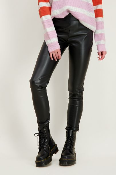Zwarte leatherlook legging