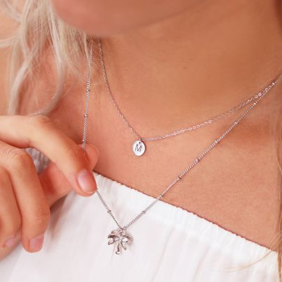 Small Chain Initial Necklace - Silver