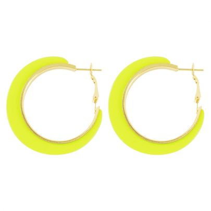 Neon gele oorringen, statement oorbellen my Jewellery