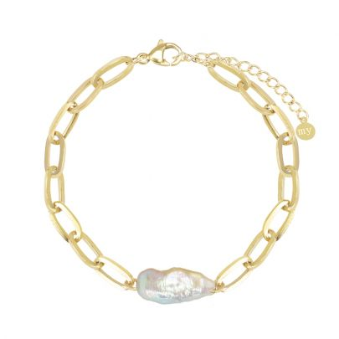 Schakelarmband met brede parel, parel armband My Jewellery