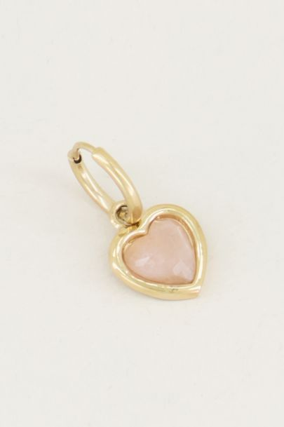 One piece oorring rose quartz, oorring edelsteen