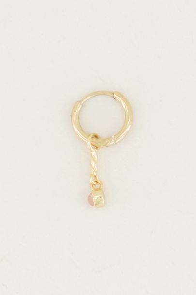 One piece oorring Rose Quartz bedel, oorringetjes