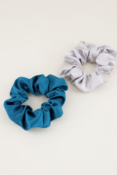Blauwe en grijze scrunchie set glimmend | Scrunchie set My Jewellery