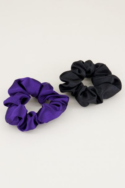 Paars en zwarte scrunchie set glimmend | Scrunchie set My Jewellery
