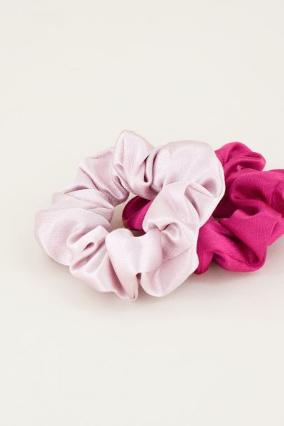 Fuchsia en roze scrunchie set glimmend | Haarelastiek My Jewellery