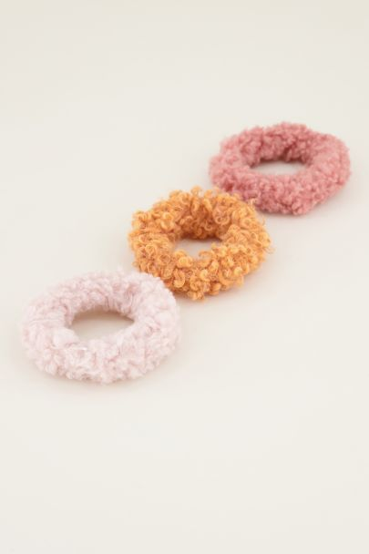 Oranje & roze teddy scrunchie set | Haar elastiek My Jewellery
