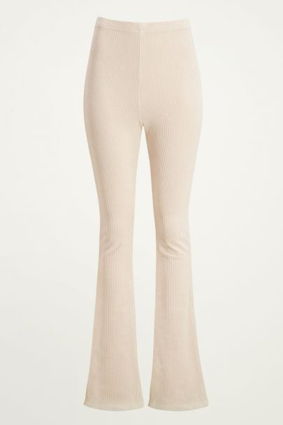 Beige corduroy flared broek, ribstof flared pants My Jewellery