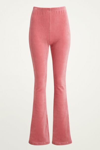 Roze corduroy flared broek, ribstof flared pants My Jewellery