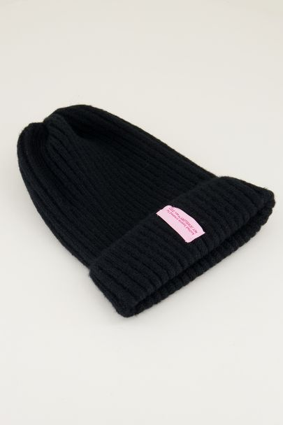 Zwarte winter beanie, beanie my jewellery