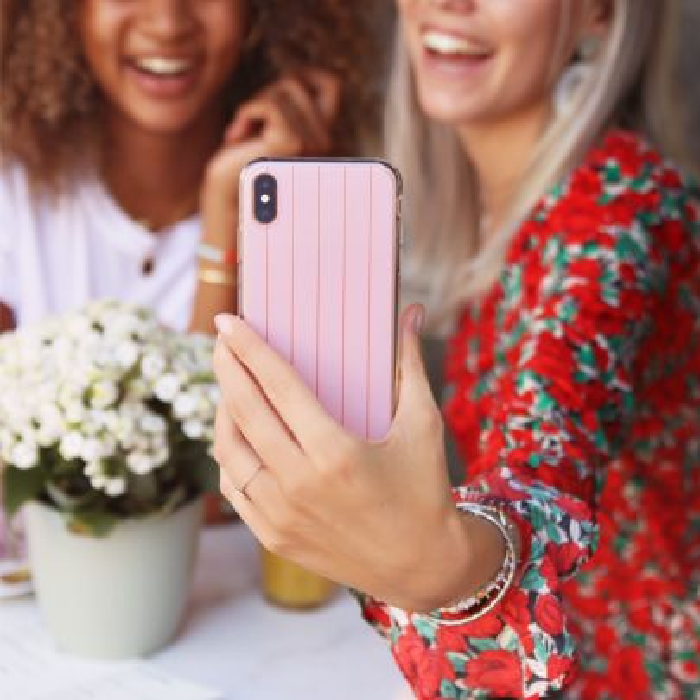 Telefoonhoesje roze/rood gestreept