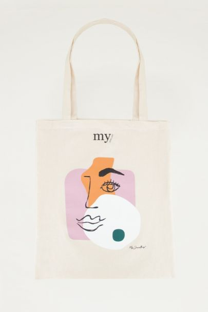 Face Totebag, linnen shopper