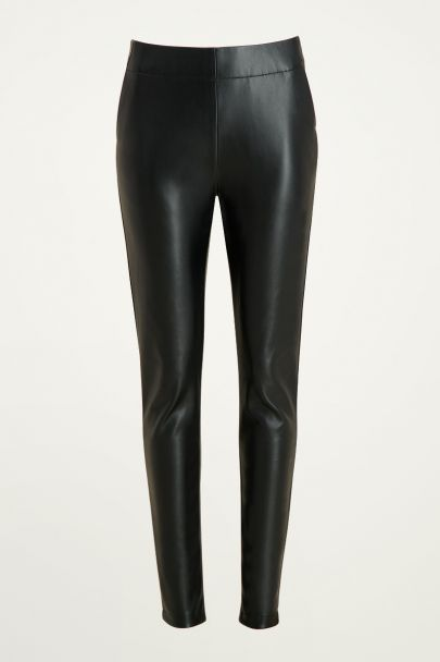Zwarte leatherlook legging, faux leather broek My Jewellery