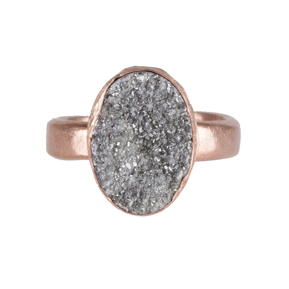 My Jewellery Gold Drizzy Ring - Rose Oval Grey