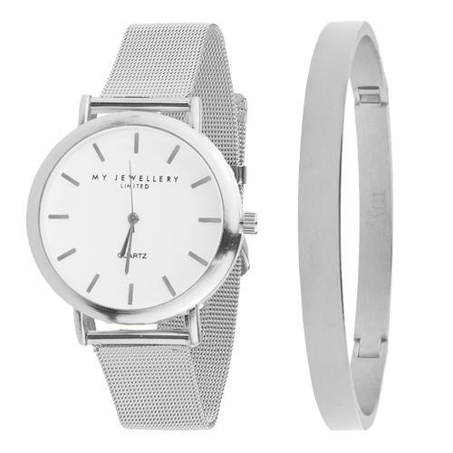 My Jewellery Limited Watch & Bangle big - Silver