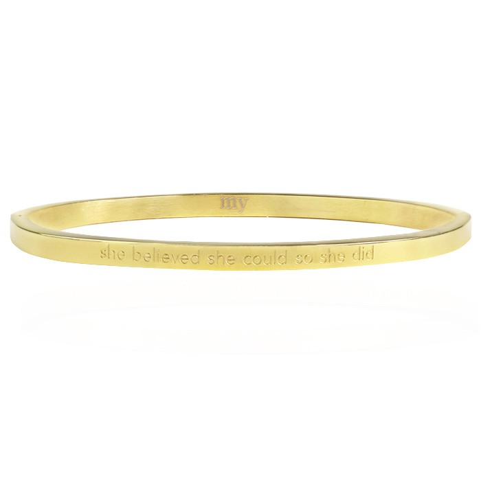 She Believed She Could So She Did Bangle - Gold