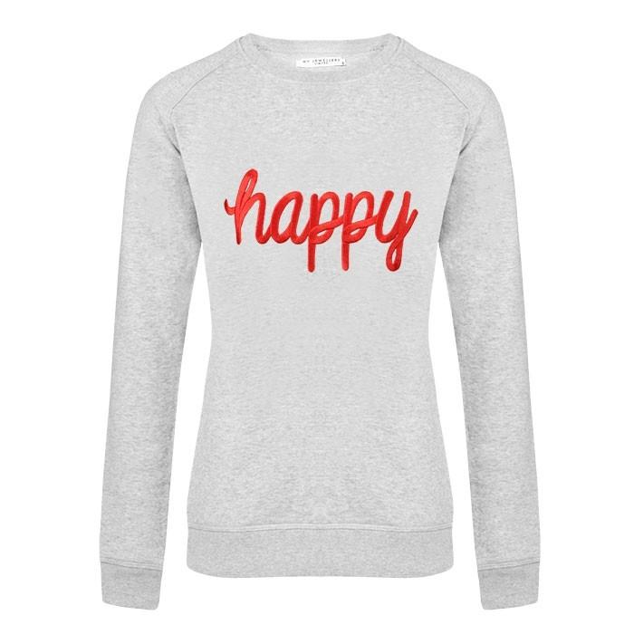 City Sweater Happy Grey Red