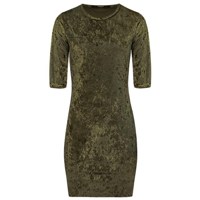 Crushed Velvet Dress 2.0 - Army