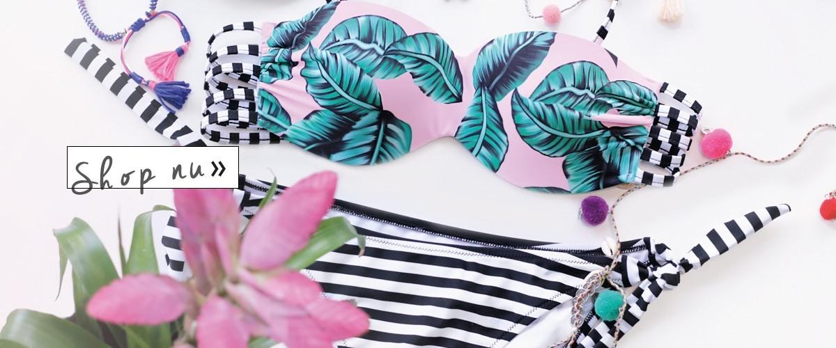Bandeau bikini met leaf print