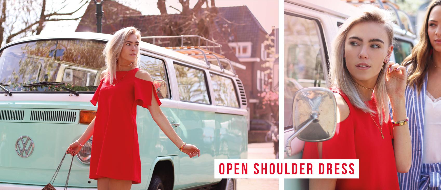open schouder jurk